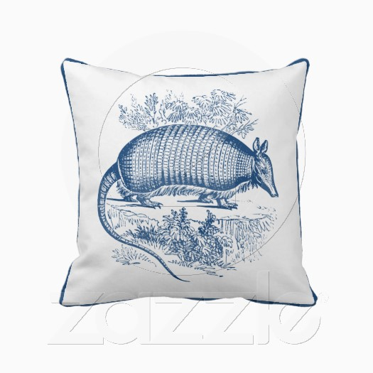 Vintage Blue Throw Pillows : Pomegranate Prints: Vintage Armadillo Antique Woodblock Blue Pillows