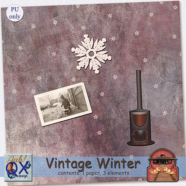 Free vintage winter mini kit from Aah! QXdesign {PU}