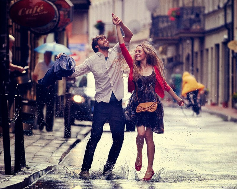 Couple Enjoying Rain with Love