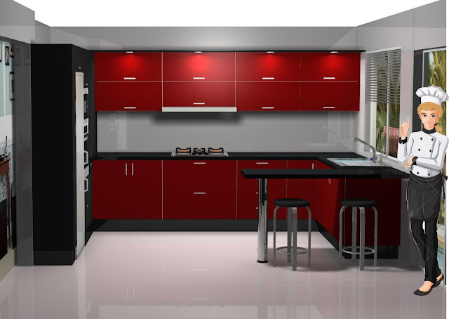 Dise o de cocina laminado en negro y burdeos for Aplicacion diseno cocinas