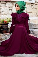 Minel Aşk Bordo tesettür elbise