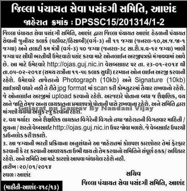 Talati/Junior clerk(Vahivati/hishabi)ANAND DISTRICT Recruitment 2014