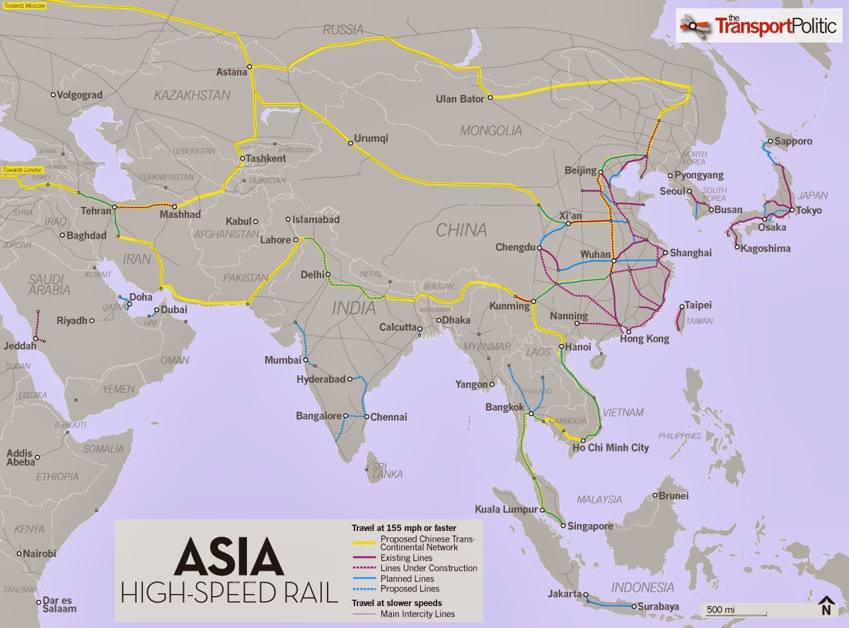 China May Work with Malaysia and Singapore on High Speed Rail link which woul