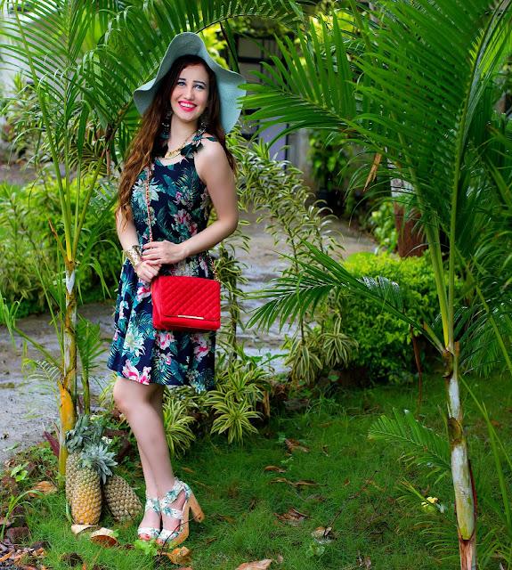 VERO MODA Floral Top, Floral Skater Skirt, Orange Quilted Bag, Sun-hat, Resort Wear, H&M Tropical Print Block Heels