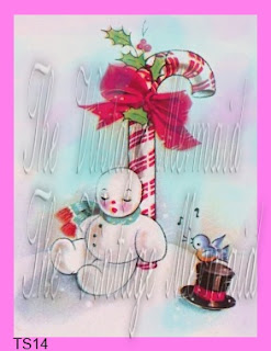 vintage snowman sleeping by christmas candy cane