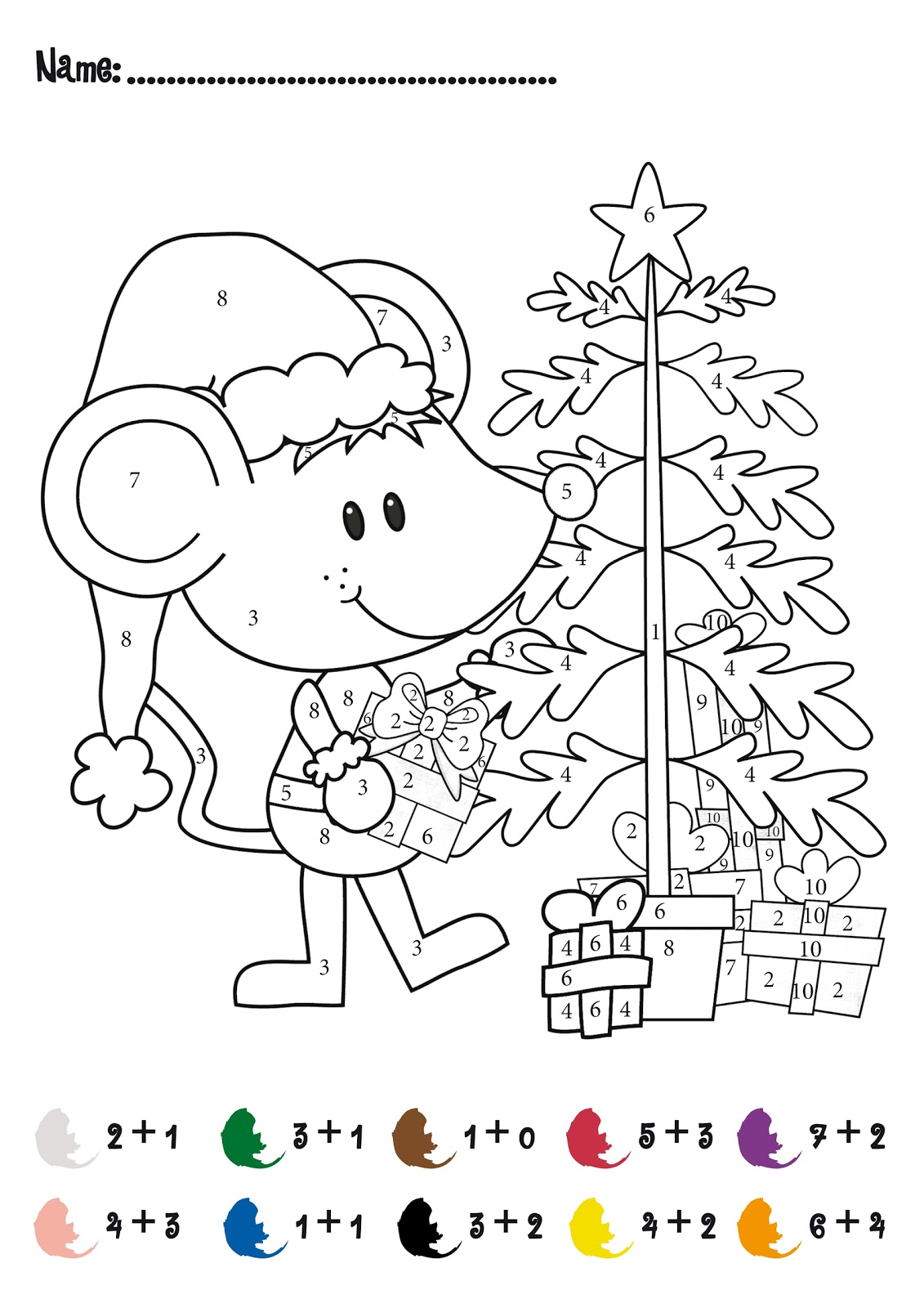 Christmas Math Coloring Worksheets on k grade math coloring worksheets