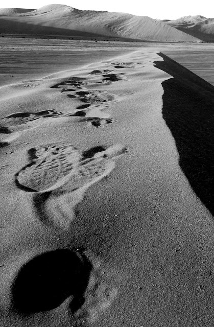 Footprints in the sand at the top of Dune 45, Sossusvlei