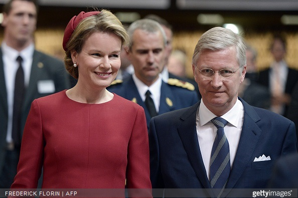 King Philippe Filip of Belgium and Queen Mathilde of Belgium arrive to deliver a speech to the Parliamentary Assembly of the Council of Europe, in Strasbourg, eastern France,