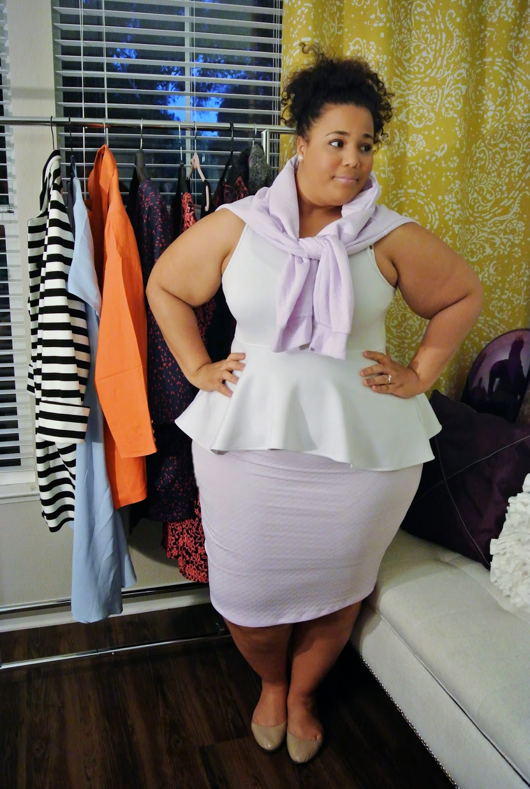 Plus size fashion, boohoo, lavender jacket, lavendar plus size skirt
