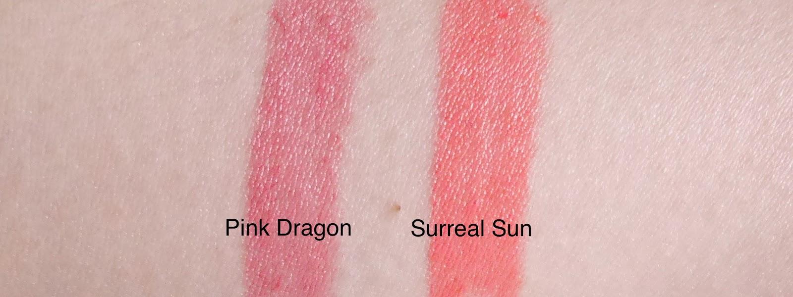 estee lauder pure color envy shine pink dragon surreal sun swatch review