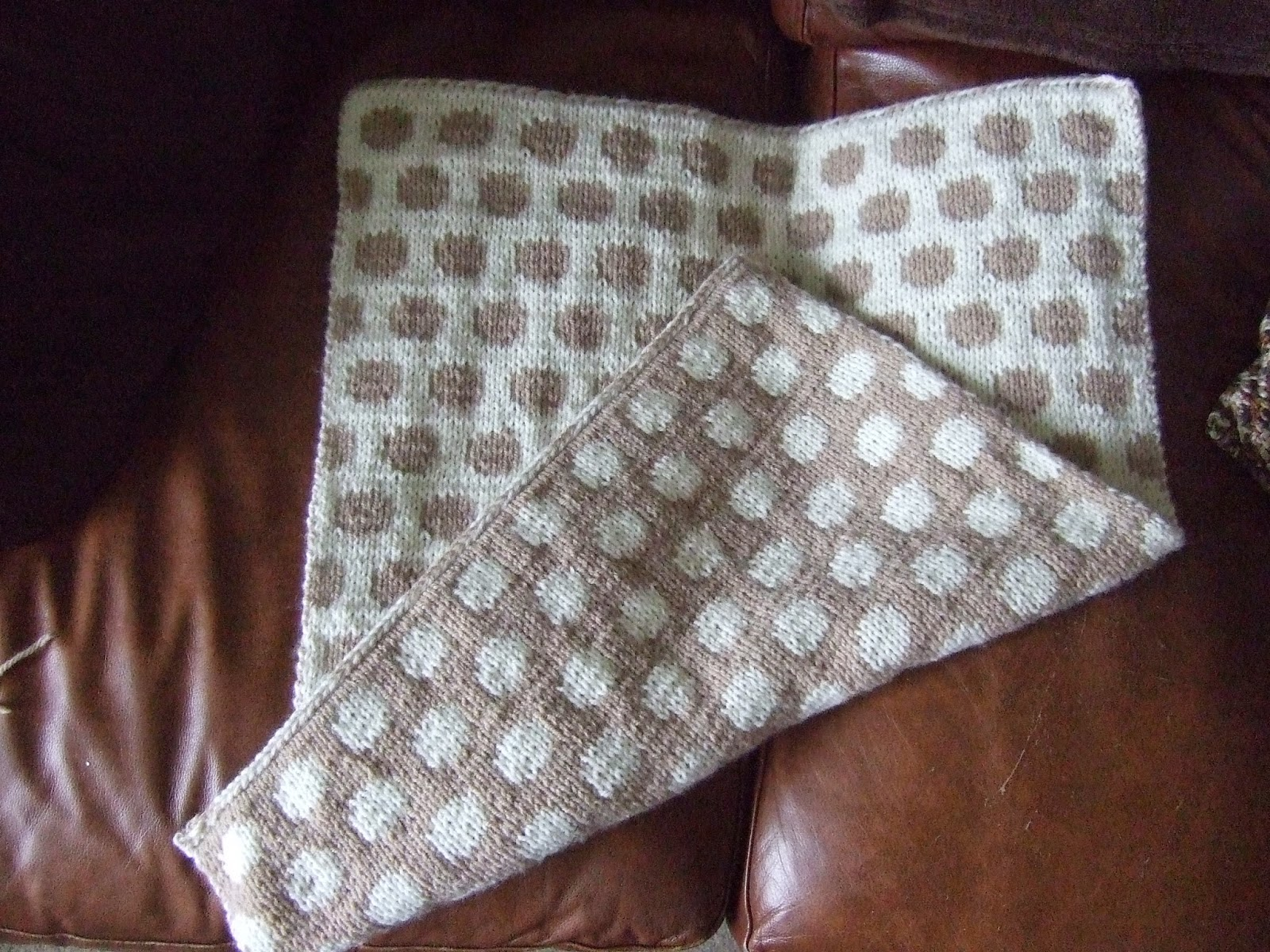 Made By Joanne: Reversible Knitted Polka Dot Baby Blanket (double ...