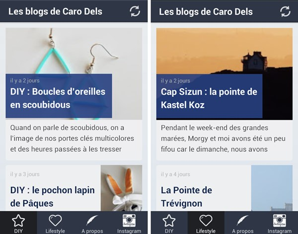 Les p'tites créa' : l'application