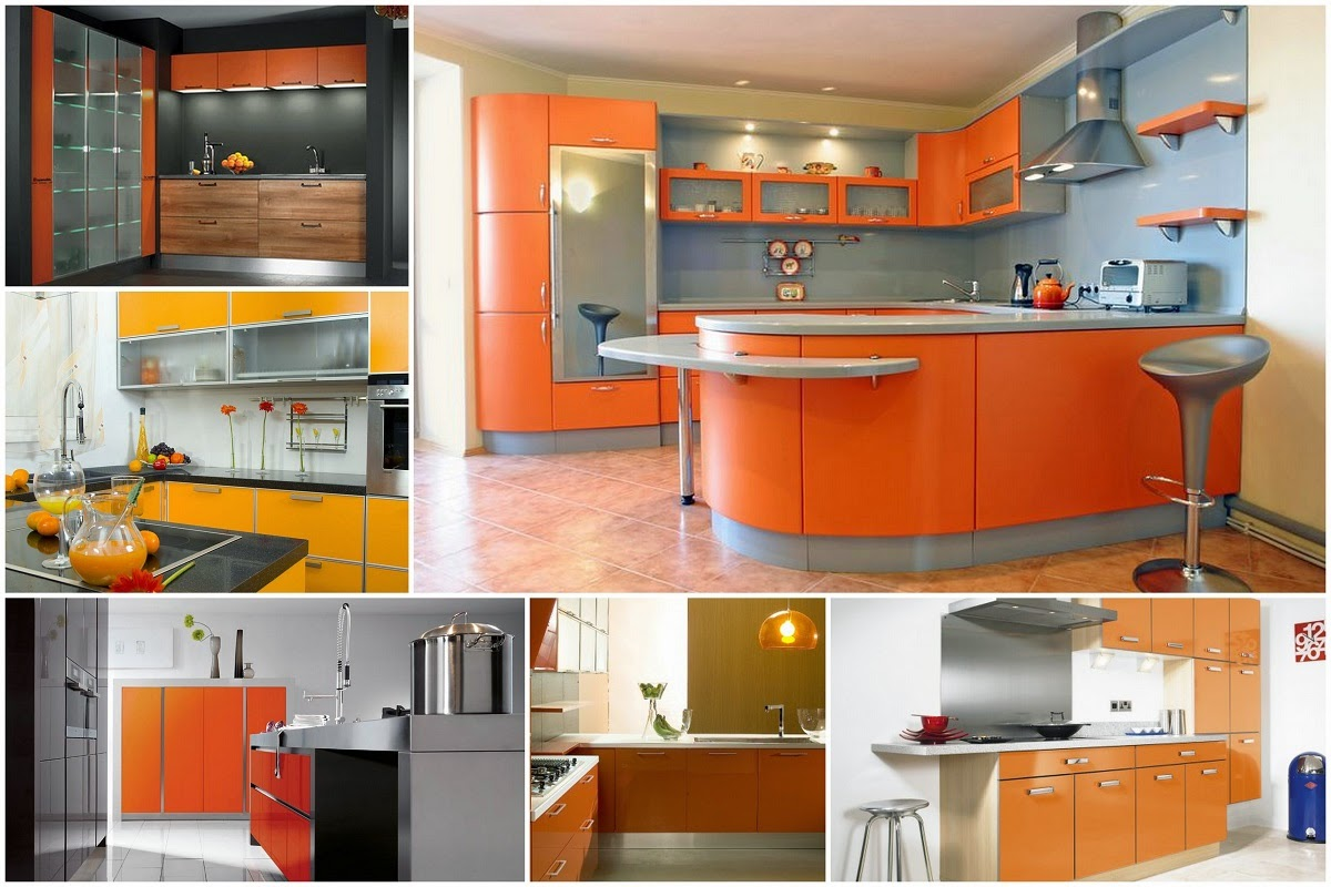 there are many kitchens with different colors orange is the color of