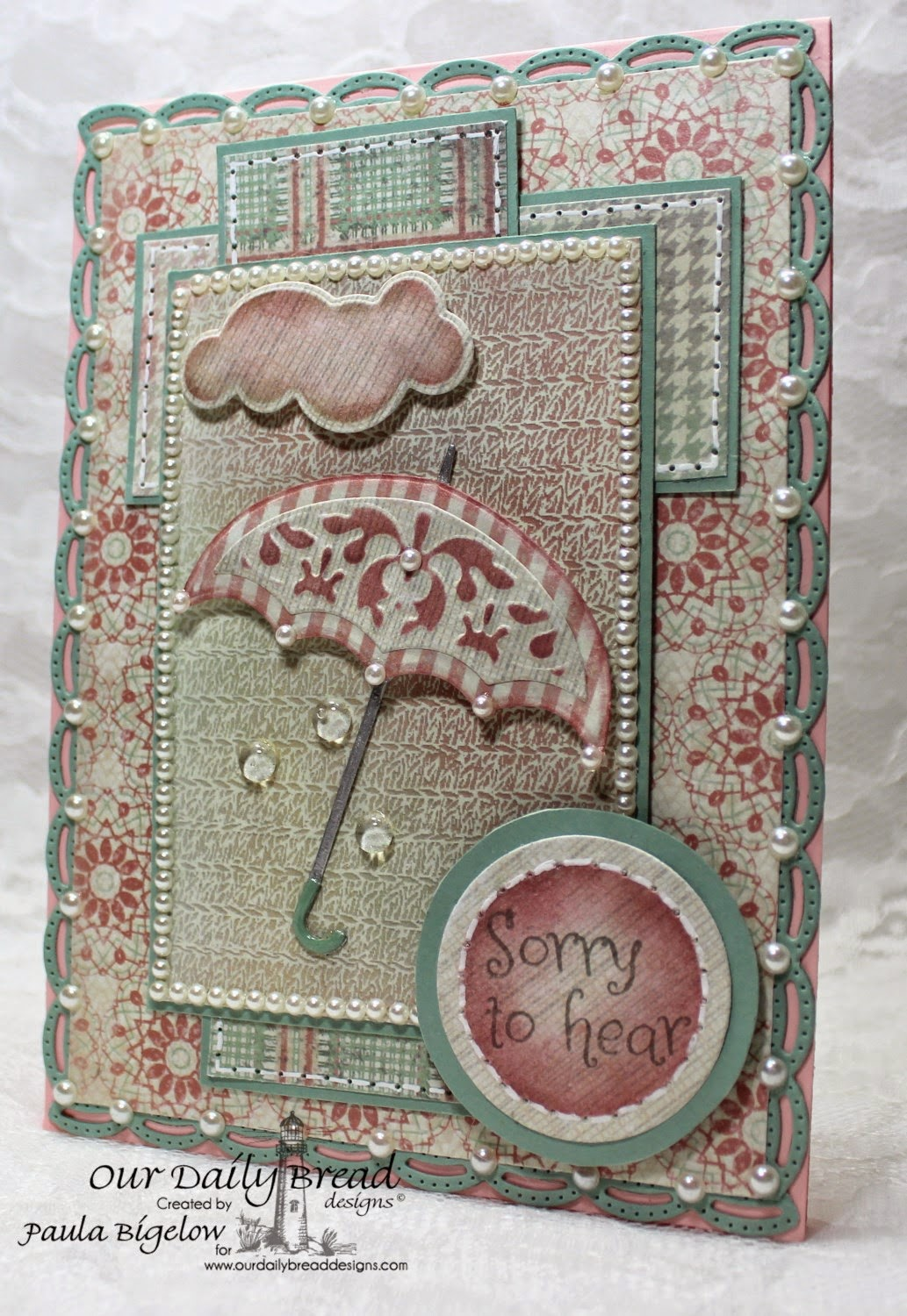 Our Daily Bread Designs, April Showers, ODBD Umbrellas Dies, ODBD Clouds & Raindrops Dies, ODBD Recipe & Tags Dies, ODBD Beautiful Borders Dies, Soulful Stitches Paper Collection, Designed by Paula Bigelow