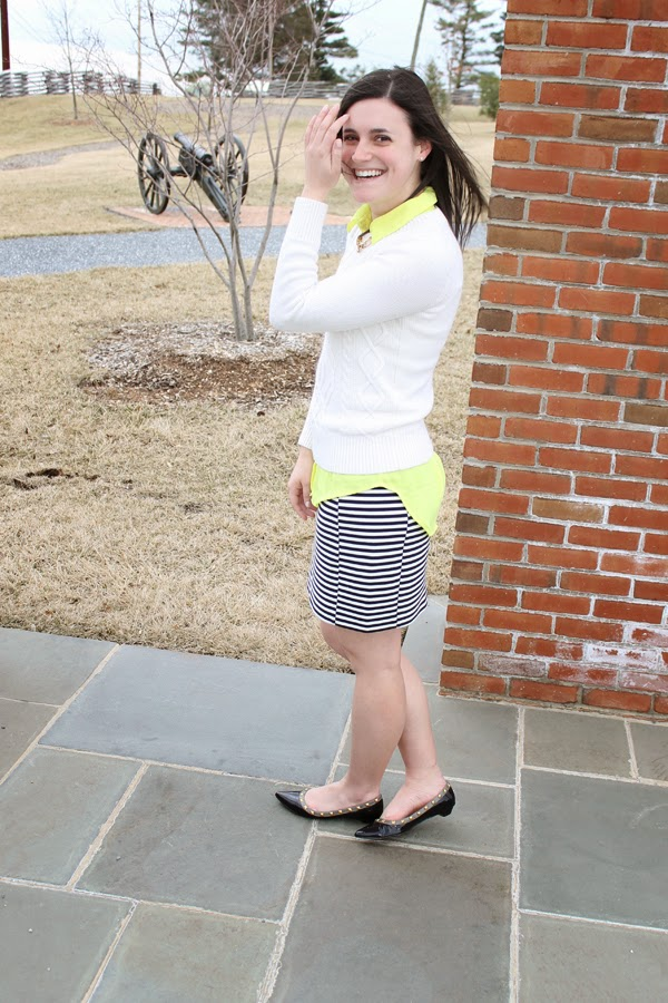 White cable knit sweater, striped skirt, neon top, winter white, Target sweater, Madewell striped skirt, neon