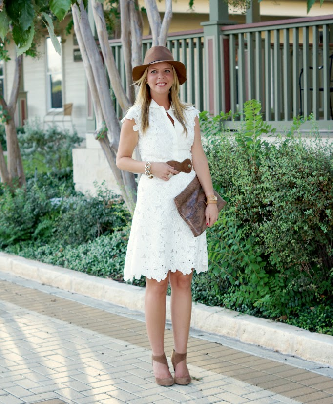 White dress with brown accents