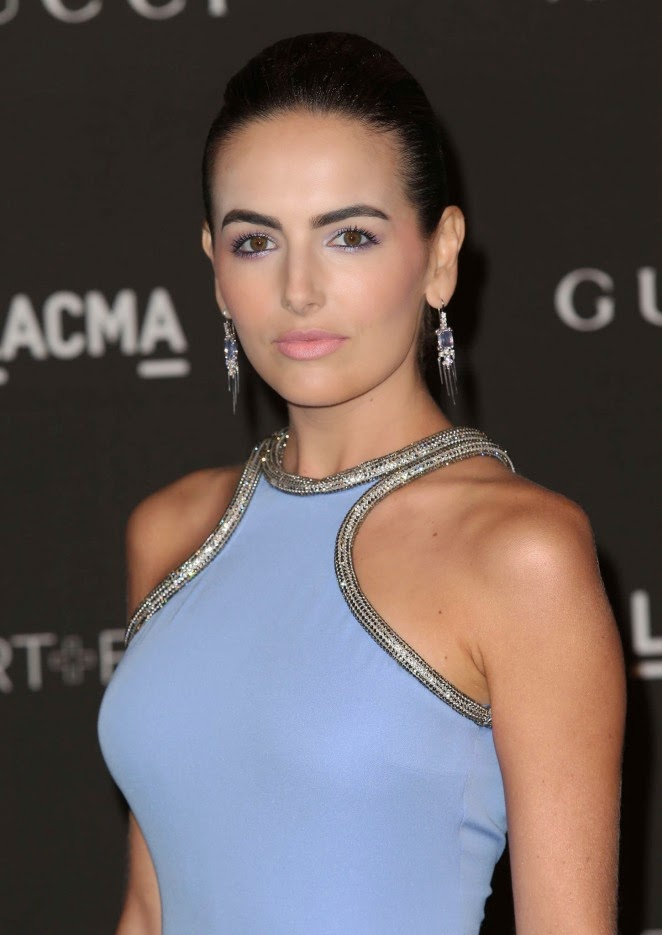 Camilla Belle in a powder blue halter gown at the 2014 LACMA Art + Film Gala