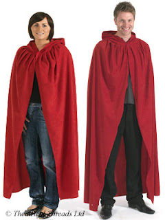 Red hooded adult fancy dress cloak from Theatrical Threads