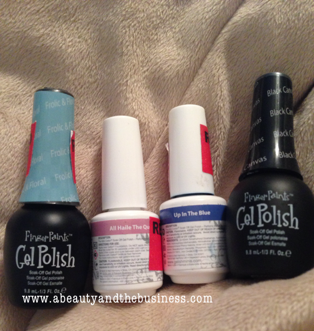 Finger Paints - Frolic and Floral, Gelish -All Haile The Queen, Gelish -Up In The Blue and Finger Paints - Black Canvas,