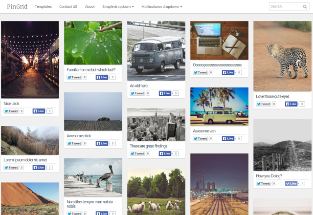 Grid Pin Responsive Photography Blogger Template