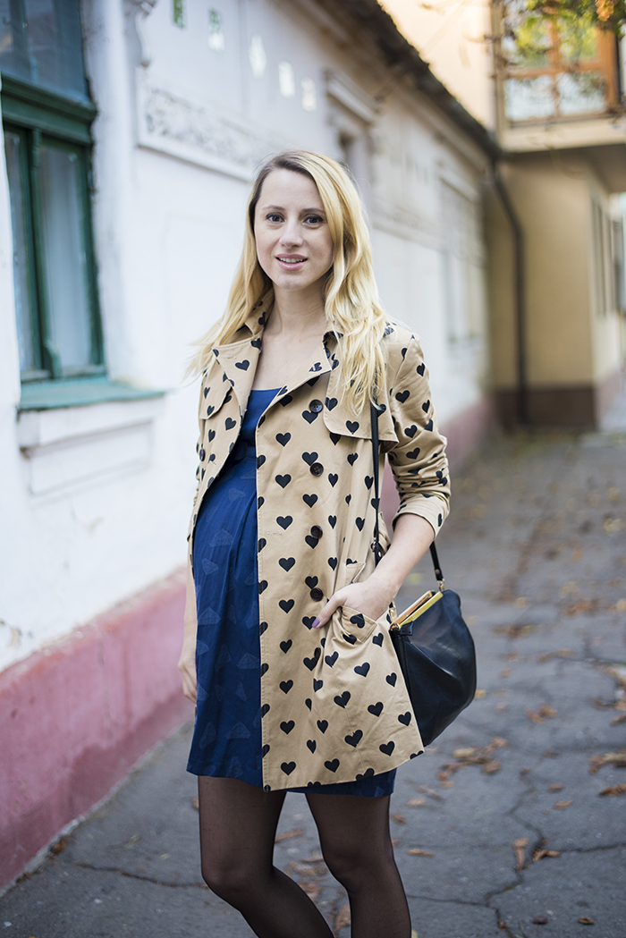 Skinny Buddha maternity wear baby doll dress heart print trench coat