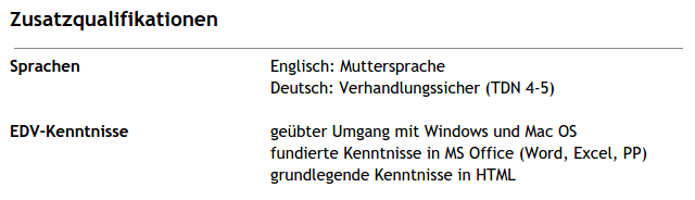 Skills on a German resume