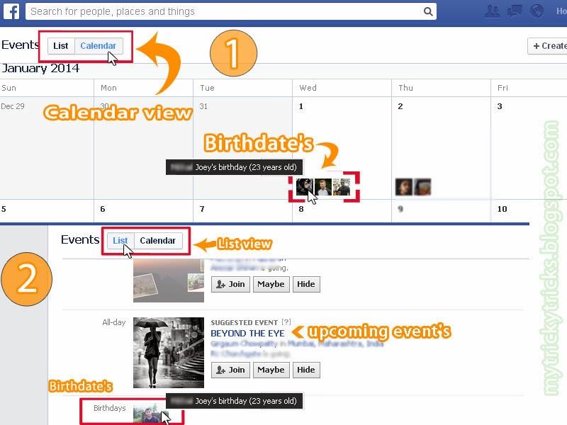birthdates from facebook, how to get birthdates, facebook birthdates, events on facebook