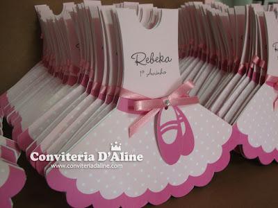convites tema bailarina rosa vestido