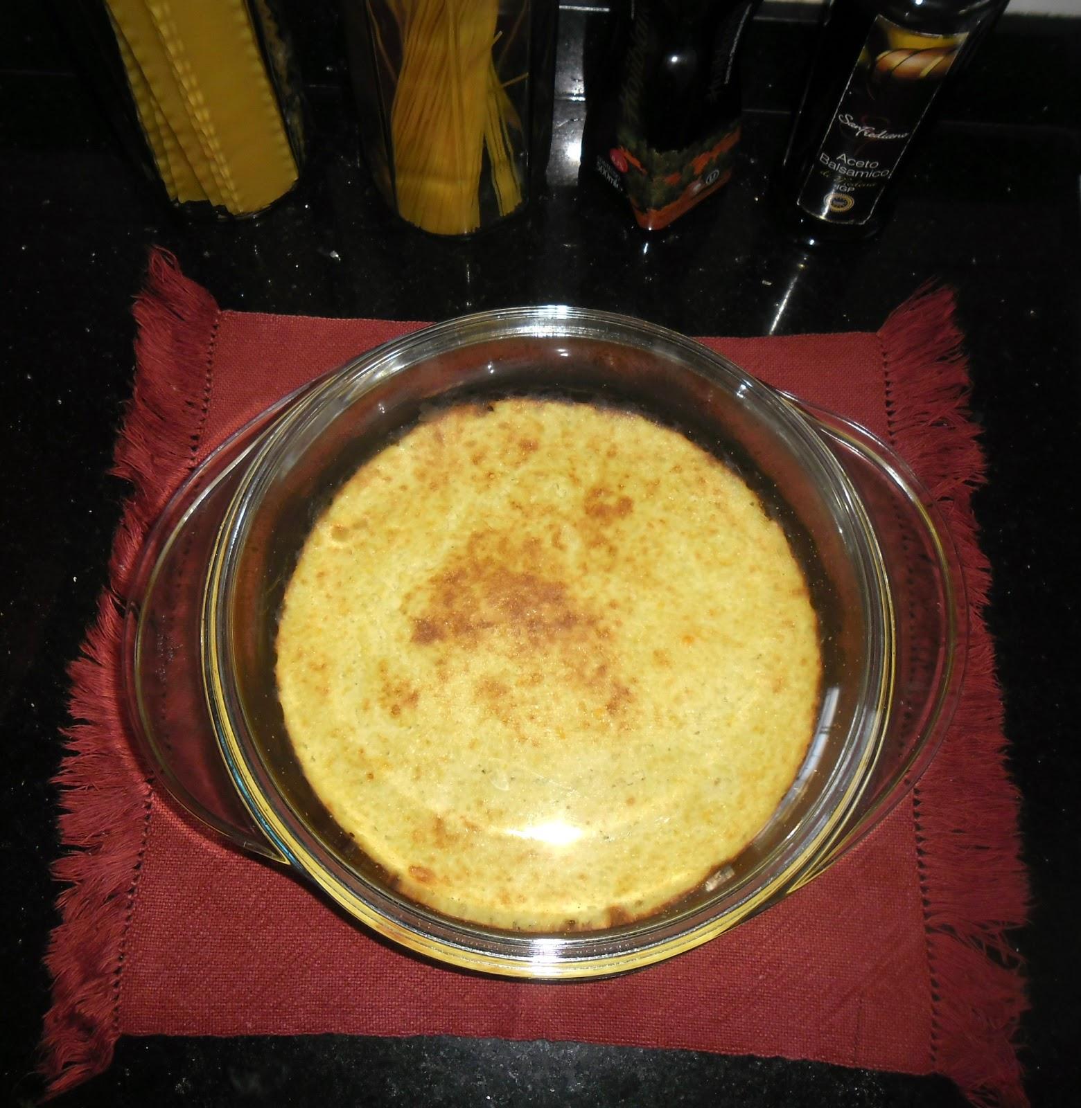 Suflê de chuchu com milho