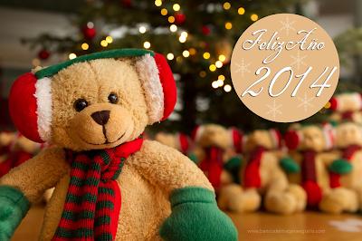 Oso de peluche con mensaje de Feliz 2014 gratis para compartir en facebook
