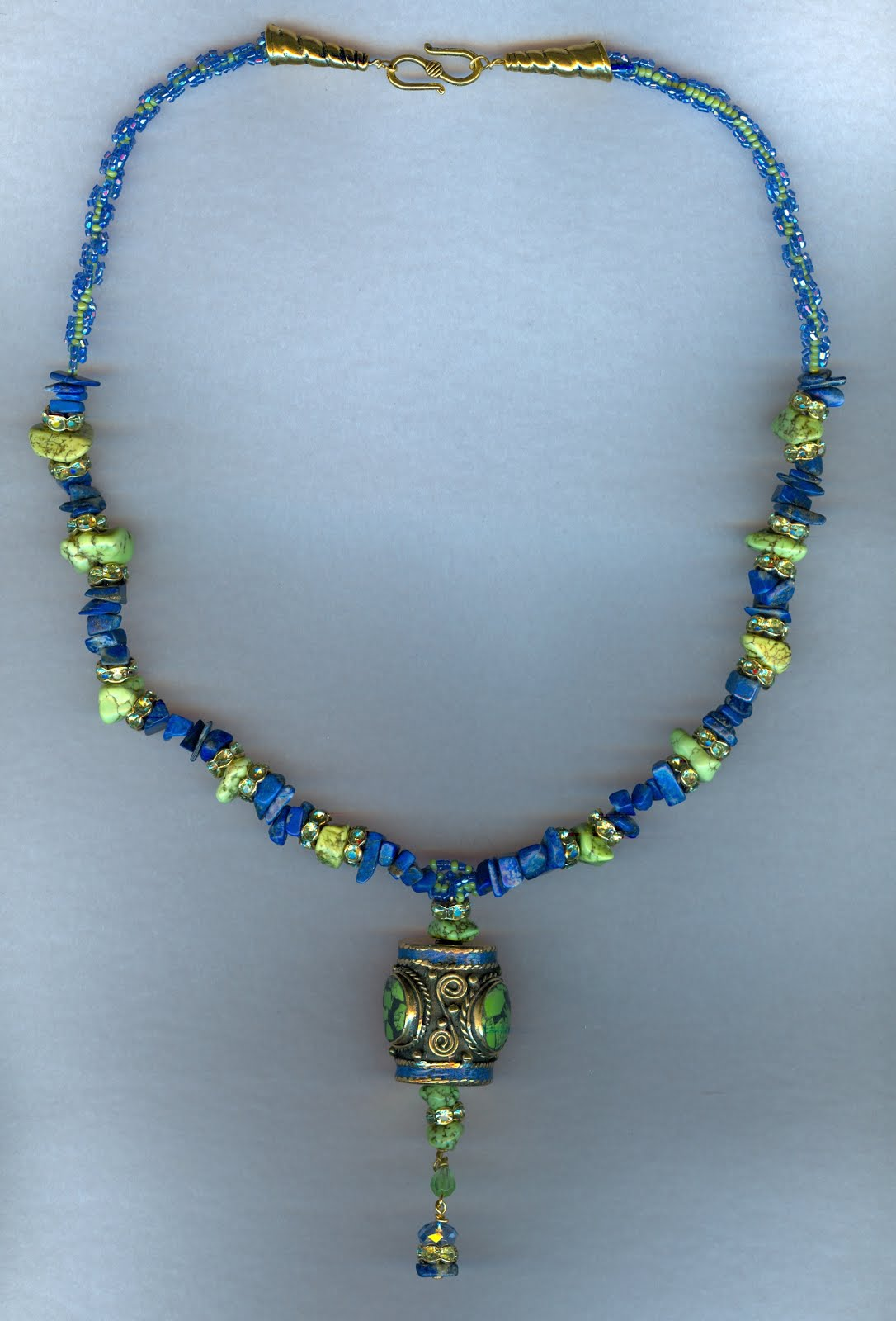 Turquoise and Lapis necklace with Nepali bead