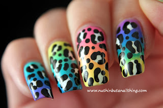 Multi-coloured Leopard Print Nail Art