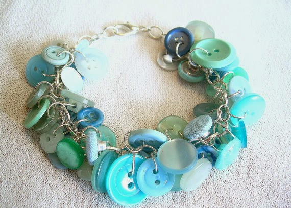 turquoise bracelet vintage buttons by Betty's Rubble