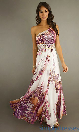 Long One Shoulder Print Dress and price