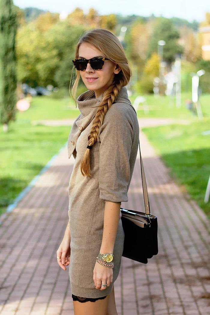 knit dress over slip dress, fall autumn outfit, illesteva sunglasses