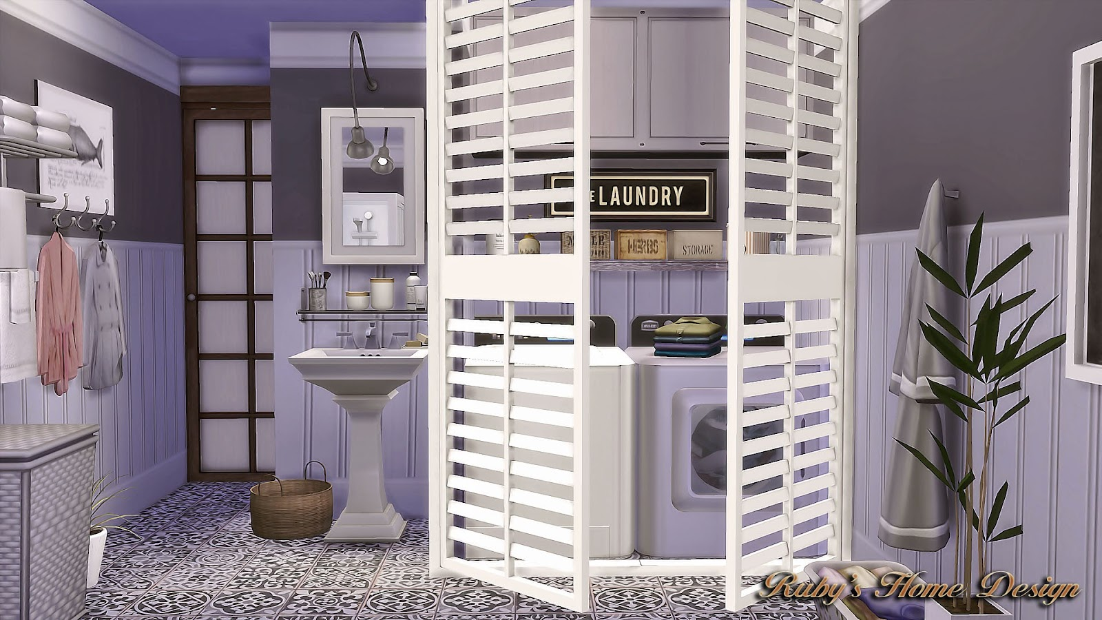 Sims4 Laundry Room Wall Panels 壁紙 - Ruby's Home Design