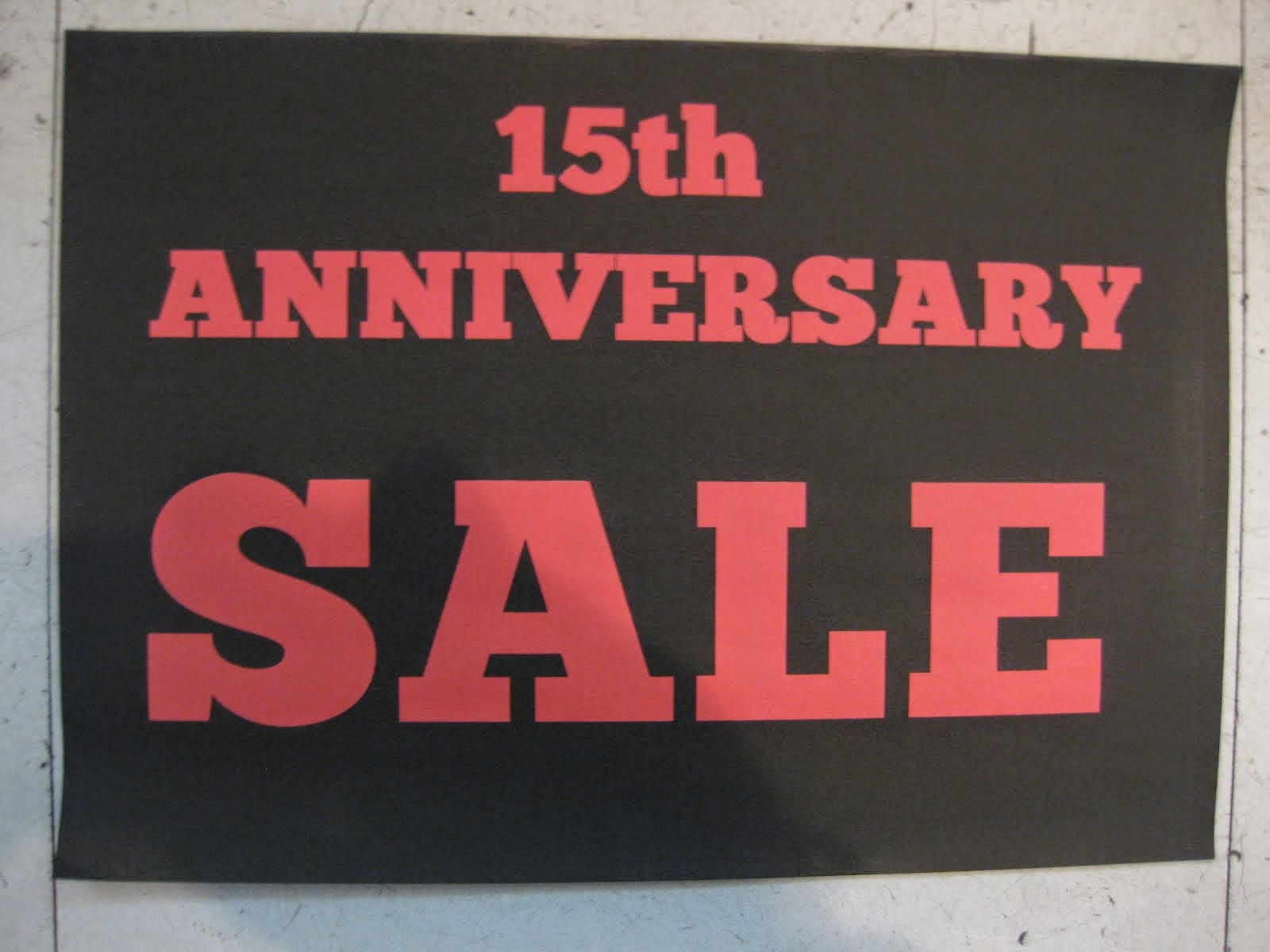 15th ANNIVERSARY SALE