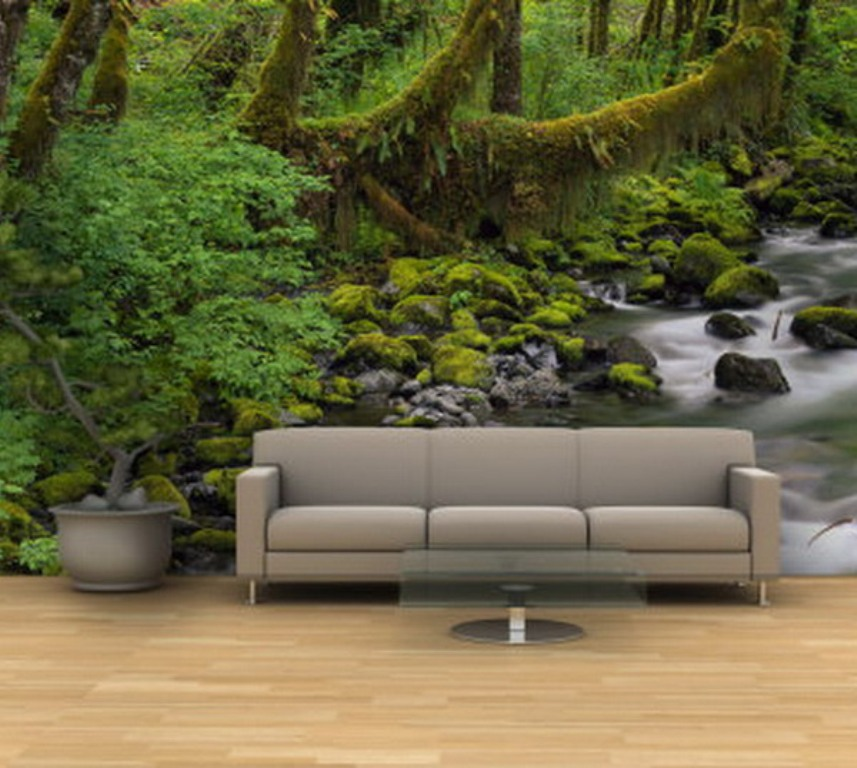 Tapeta na cianie for Jungle living room ideas