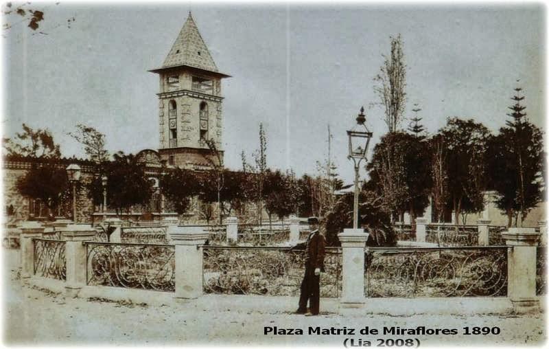 Antiguos Baños De Miraflores:Antiguo Miraflores en Lima – Perú: Plaza e Iglesia Matríz, Malecón