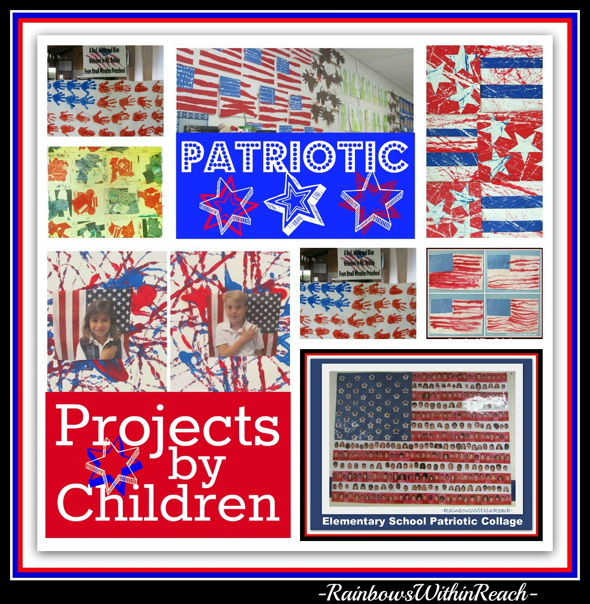 creative writing patriotism photo of collage of patriotic art projects by young children in preschool and kindergarten prekandksharing