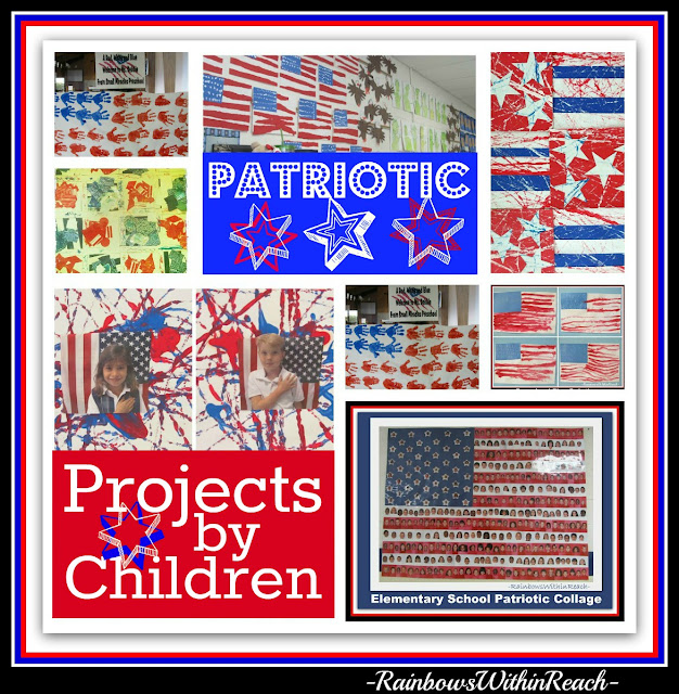 photo of: Collage of Patriotic Art Projects by Young Children in preschool and kindergarten