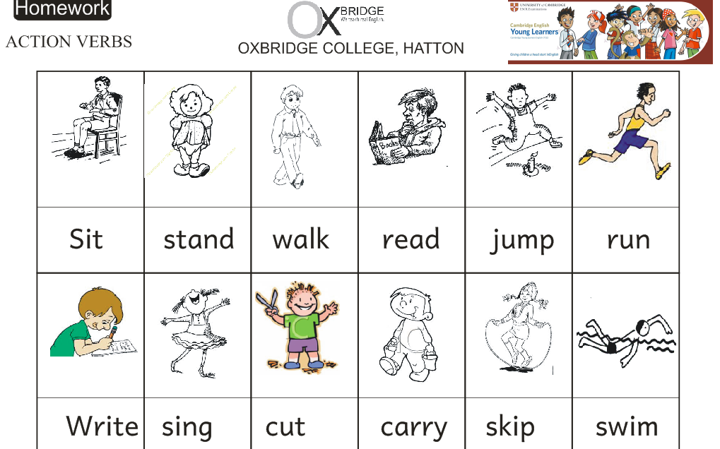 Action Verb Worksheet Davezan – Action Words Worksheets for Kindergarten