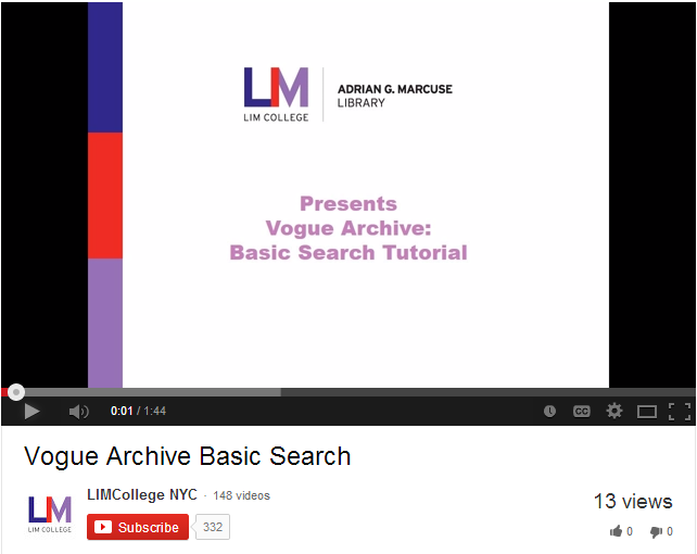 Vogue Archive Basic Search Tutorial