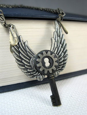 Steampunk Style Key With Wings Necklace