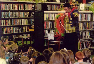 Tony Baloney and Magoufis entertain children who completed the Summer Reading Challenge at deValera Library