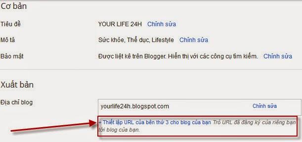 Thiết lập tên miền riêng cho blogspot