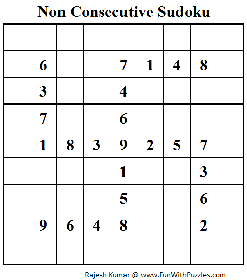 Non Consecutive Sudoku (Fun With Sudoku #60)