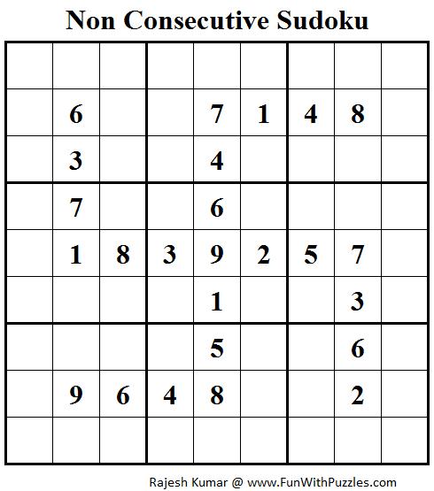 Non Consecutive Sudoku (Fun With Sudoku #60)