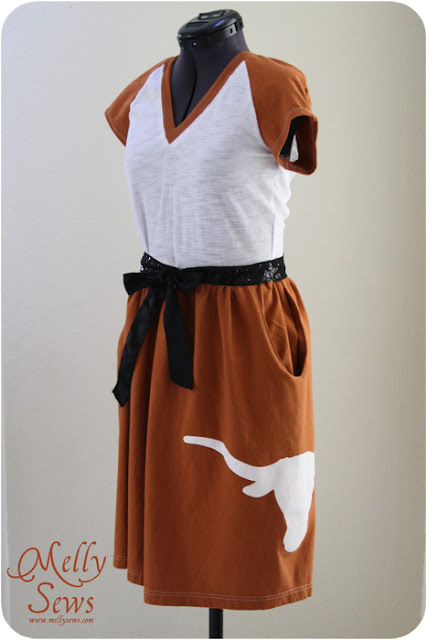 Longhorn Game Day Dress - Melly Sews - DIY tutorial to make this out of 2 t-shirts #sewing #diy