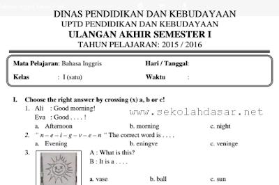 Soal UAS Bahasa Inggris Semester 1 Kelas 1 SD/MI
